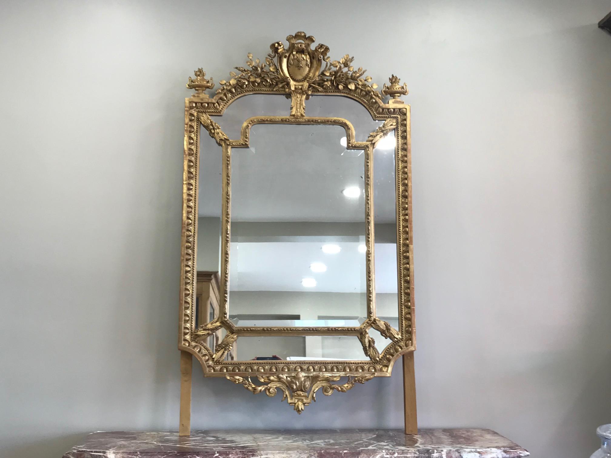 Beau Miroir Ancien Au Mercure De Style Louis Xvi A Parecloses Datant De La Fin Du Xixeme Siecle Cheminees Camus Fils